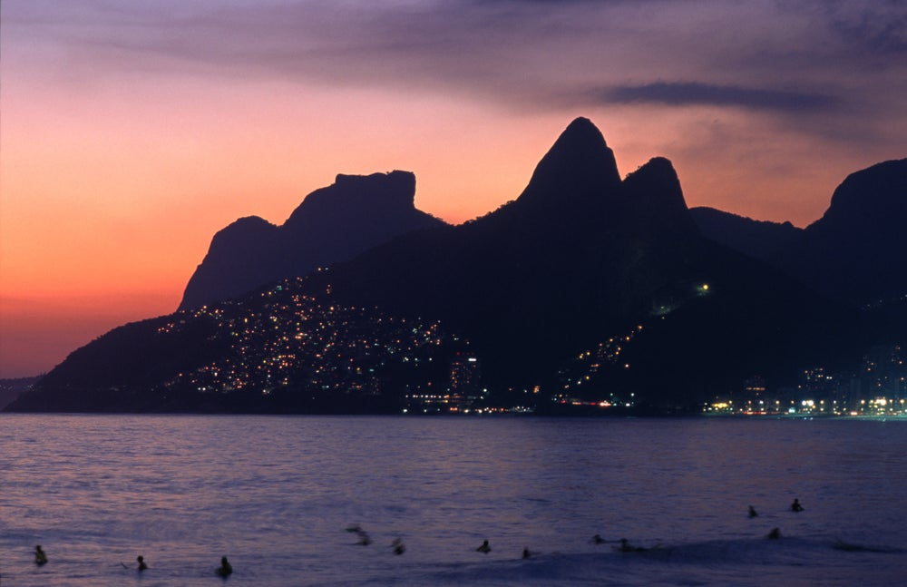 Ipanema and Leblon beaches at sunset.