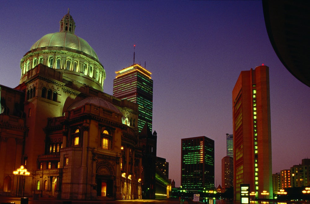 The Christian Science Mother Church at night - Boston, Massachusetts