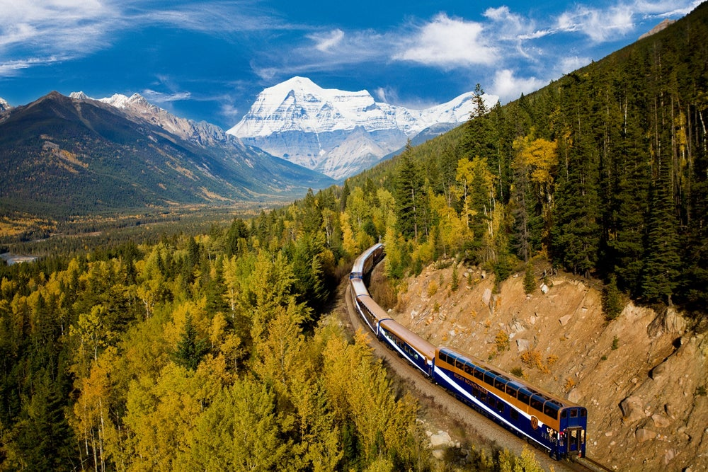 Rocky Mountaineer passing through Banff National Park.