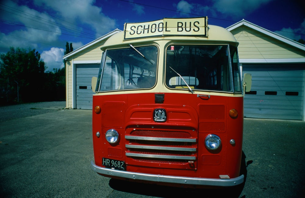 A classic 1950's school bus in use in Hunterville.