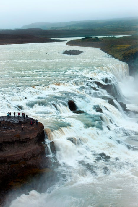 Gullfoss waterfall in canyon on Hvita River in Golden Circle region in southwest Iceland.