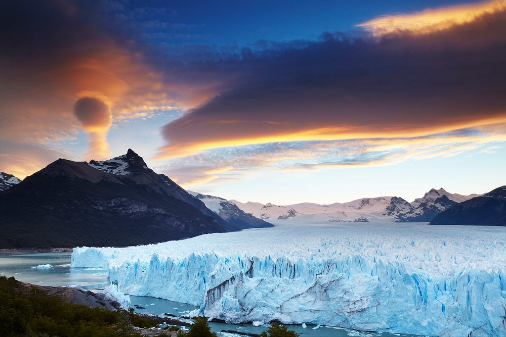 Perito Moreno glacier at sunset.