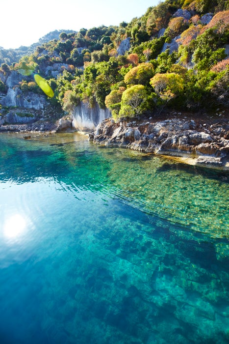 Sunken Lycian town on coast of Kekova island.