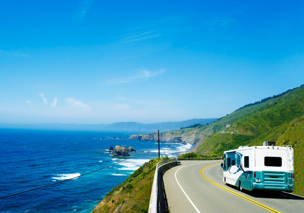 RV driving along the Sonoma-Mendocino coastal route.
