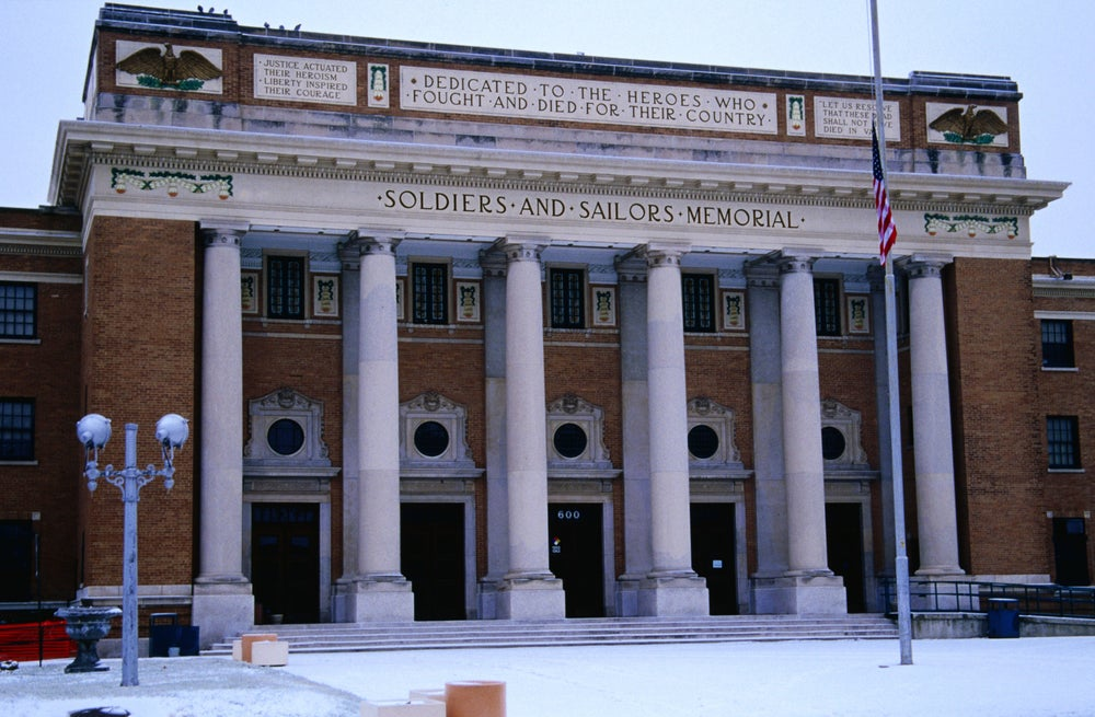 Exterior of Memorial Hall, 600 N 7th St, downtown area.