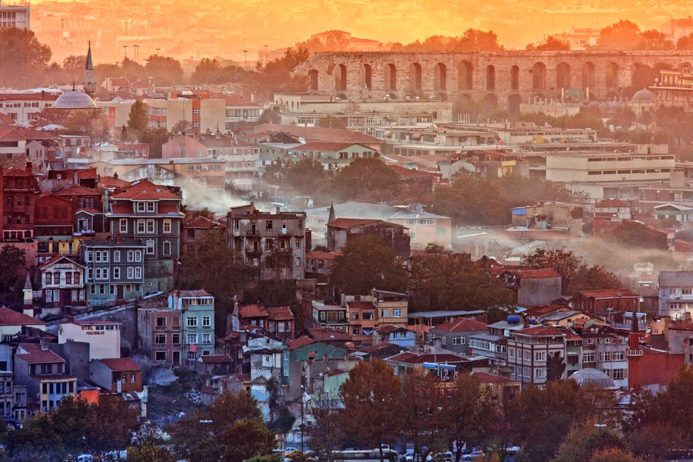 Fatih district and the Aqueduct of Valens during sunset.