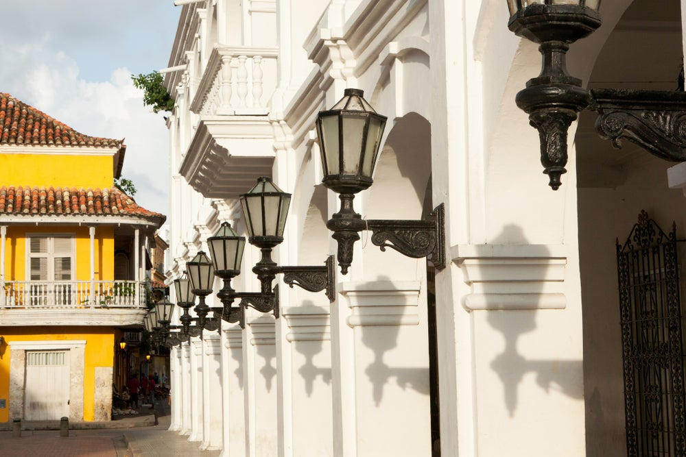 Colonial architecture in Cartagena's old town.