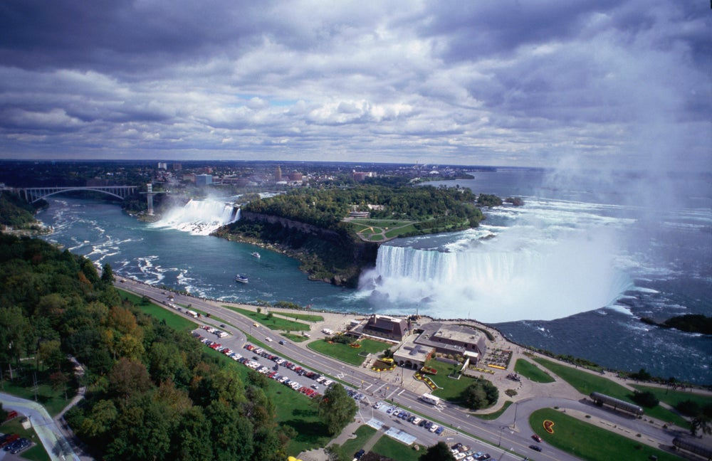Aerial of Niagara Falls from the Canada side of the famous waterfall