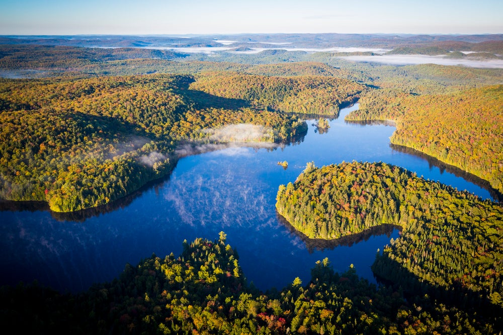 Overview of Lac du Fou and forest in La Mauricie National Park.