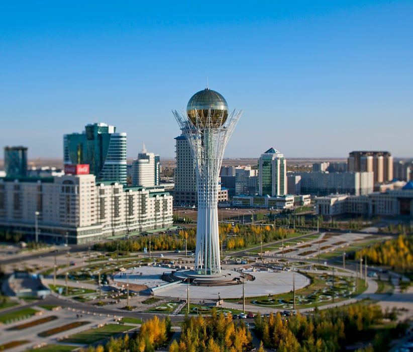 Overview of Baiterek Tower in central Astana.