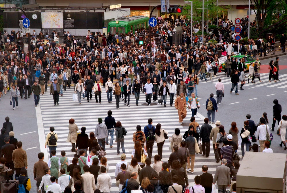 People at busy intersection, Hachiko exit, Shibuya Station.