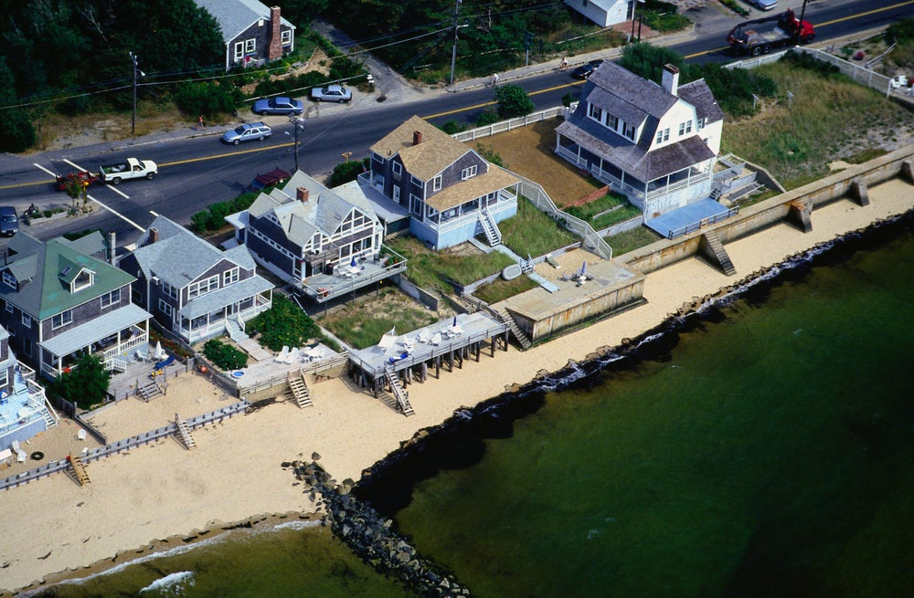 Aerial view of houses along the beach - Provincetown, Cape Cod, Massachusetts
