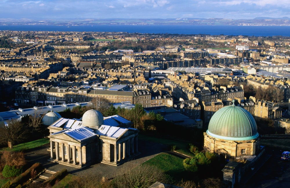Calton Hill's City Observatory and Broughton.