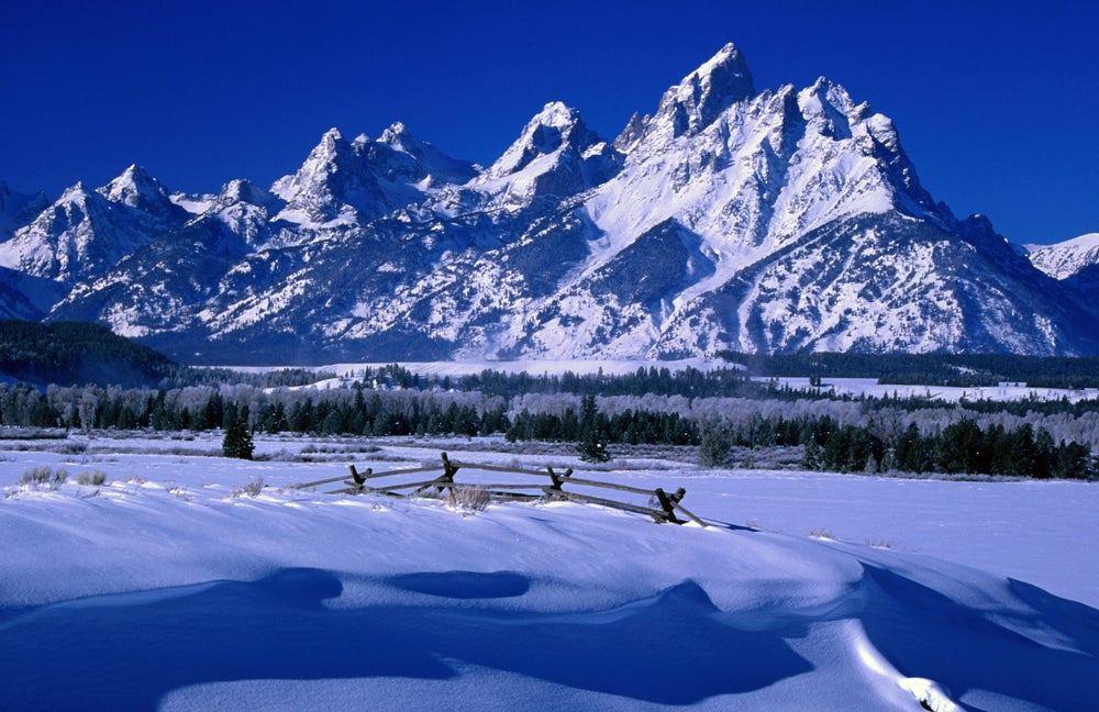 Winter snow covering the Grand Teton National Park.