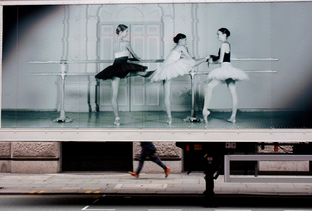 Detail of truck with signage for English National Ballet.