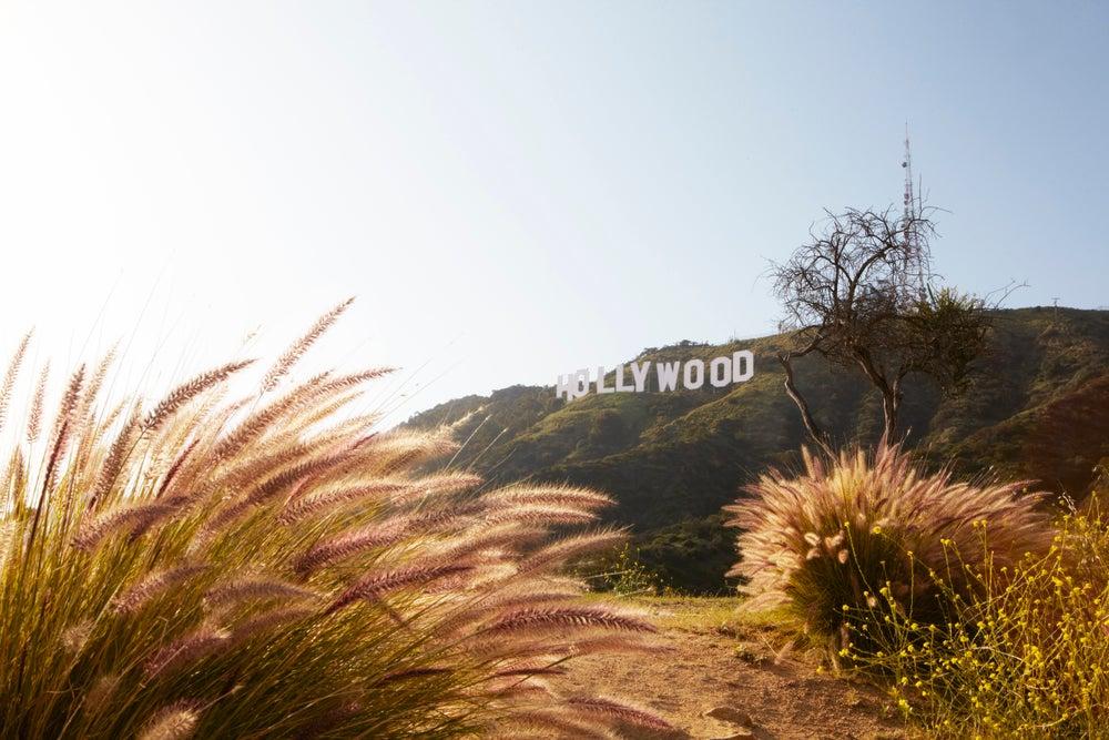 Famous Hollywood sign on Mount Lee.