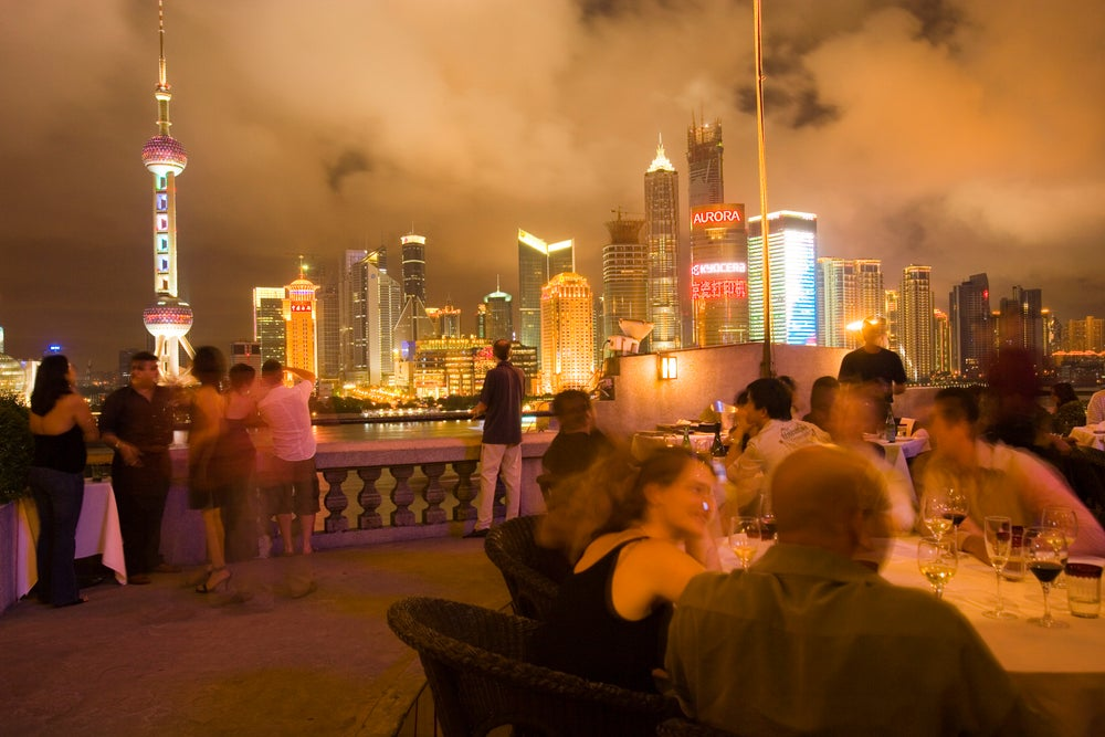 Outdoor dining at M on the Bund.