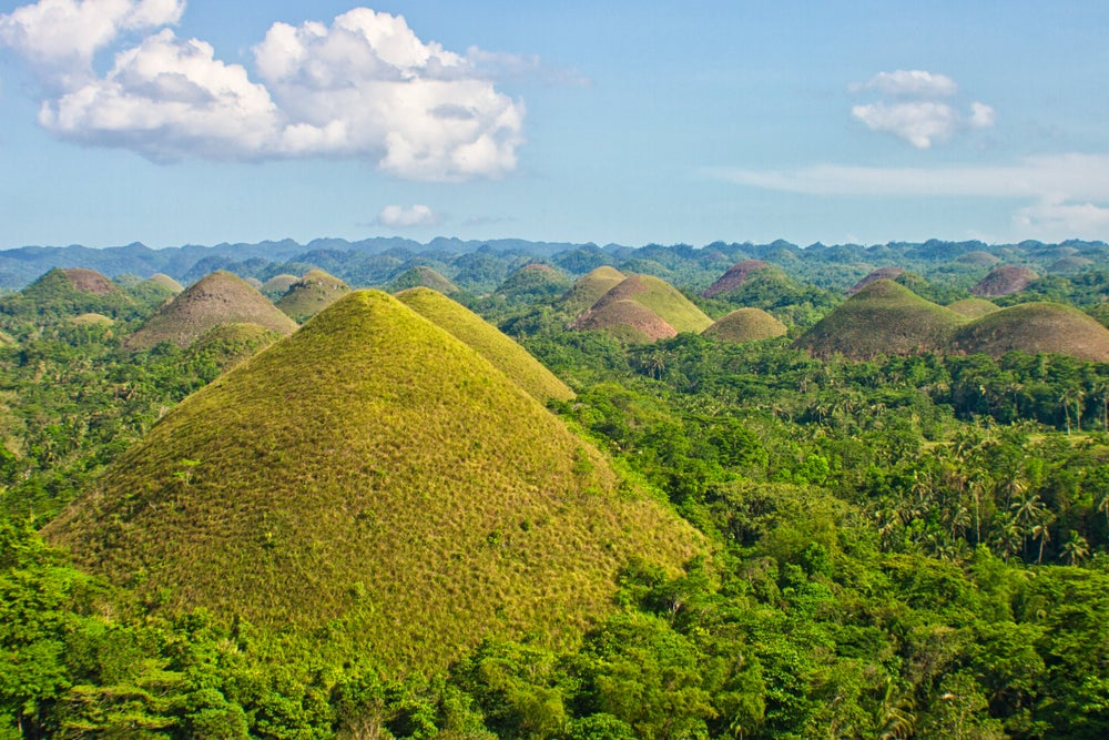 Domed Chocolate Hills, formed from ancient coral-reef deposit.