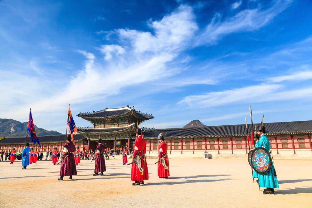 Changing of guards ceremony at Gyeongbokgung Royal Palace.