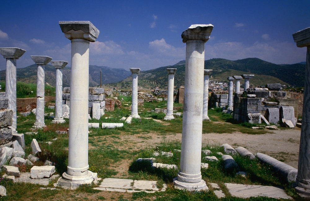 The Temple of St John in the Roman ruins of ancient Ephesus, the city was a great trading and religious city and a centre for the cult of Cybele, the Anatolian fertility goddess