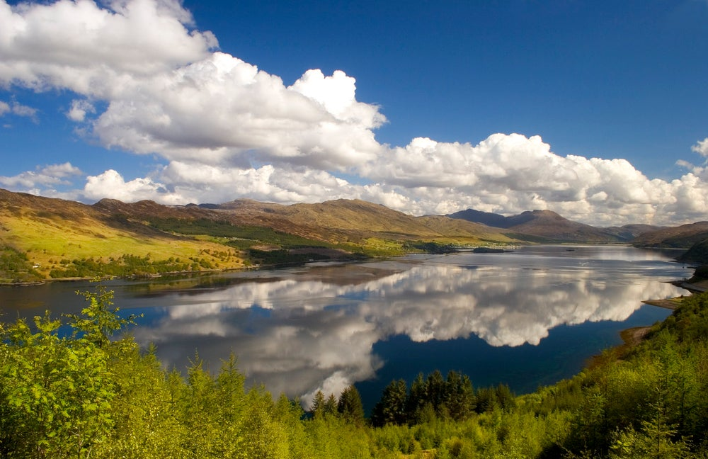 Clouds reflected in Loch Carron.
