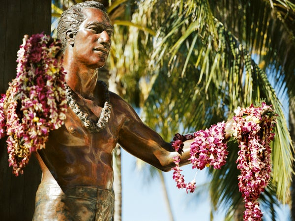 Duke Paoa Kahanamoku statue on Waikiki Beach, Waikiki, USA
