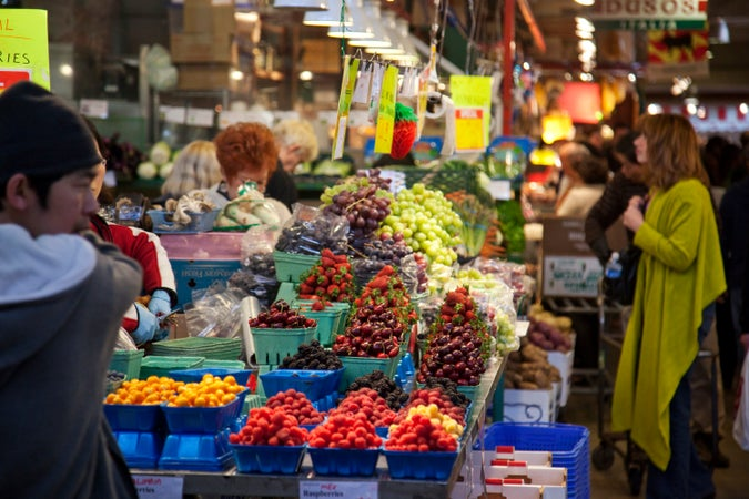 Fruit stall at Granville Island Public Market, Vancouver, Canada