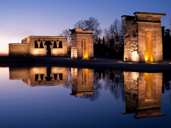 Templo de Debod at sunset, Madrid, Spain