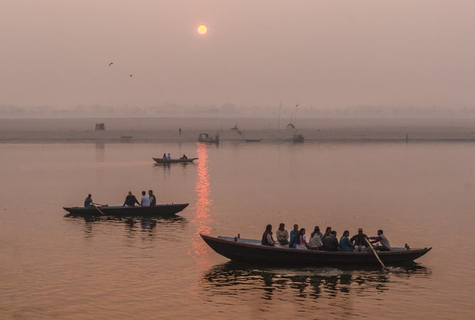 River Ganges at sunset, Varanasi, Varanasi, India