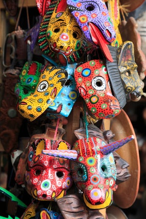 Masks for sale at Nim Po't, Antigua, Guatemala