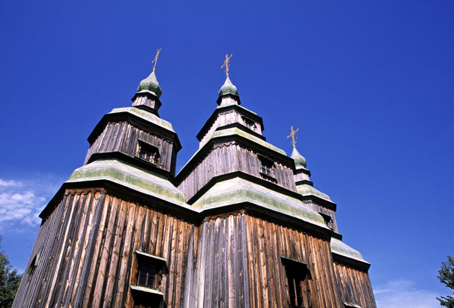 Wooden church at Pyrohovo Museum of Folk Architecture, Kyiv, Ukraine