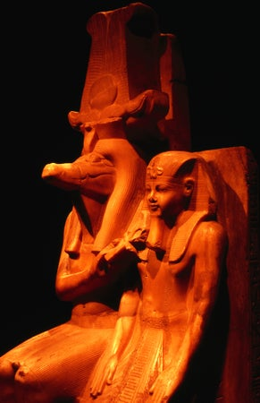 Statue of Amenhoteb III and the great crocodile god Sobek at Luxor Museum, Luxor, Egypt