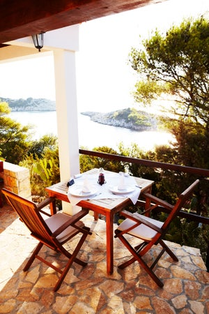Balcony overlooking bay at Stermasi Hotel, Mljet Island, Croatia