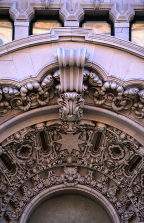 Detail from Million Dollar Theater (opened in 1918) in Hollywood, Sid Grauman's first Los Angeles movie palace, Los Angeles, USA