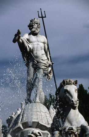 Plaza de Neptuno in Madrid. The fountain of Neptune dates from the 1700's, Madrid, Spain