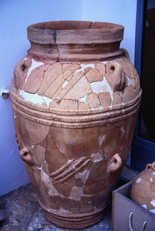 An Urn, exhibit in the Archaeological Museum - Agios Nikolaos, Lassithi Province, Crete, Agios Nikolaos, Greece