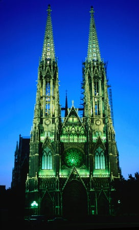Exterior of Votive Church at night, Vienna, Austria