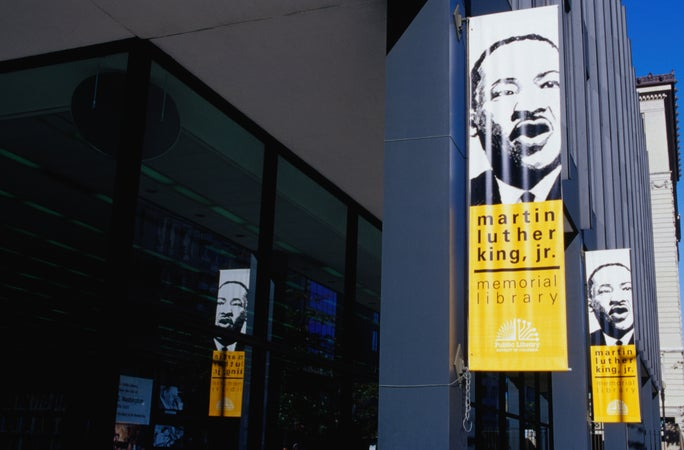 Banners advertising Martin Luther King junior Library on its facade, Washington, DC, USA