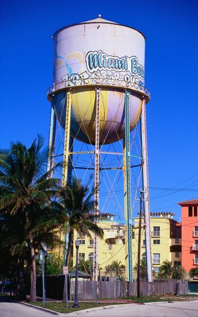 The pastel pink water tower near South Ponte Park - South Beach, Miami, Florida, Miami, USA