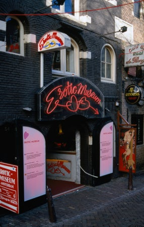 Erotic Museum facade in the Red Light District, Amsterdam, The Netherlands