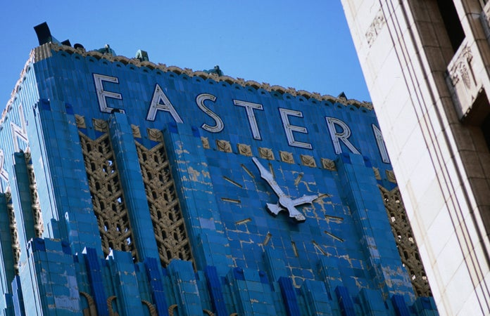 Giant clock and facade of the Eastern Columbia Building in Los Angeles. Built by Claud Beelman in 1930, the construction took only 9 months, Los Angeles, USA
