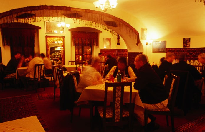 Diners in Ariana Afghan restaurant, Prague, Czech Republic