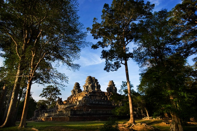 Temple surrounded by trees, Ta Keo, Temples of Angkor, Cambodia