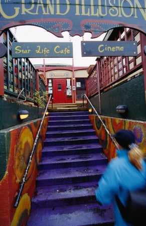 Stairs into the Grand Illusion, a 70 seat boutique theatre, Seattle, USA