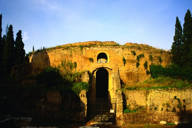The Mausleo di Augusto, the tomb of Augustus and his descendants, in the Piazza Augusto Imperatore, an imposing monument in ancient Rome - Rome, Lazio, Rome, Italy