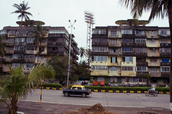 Exterior of Wankhede Stadium apartments on Marine Drive, Mumbai (Bombay), India