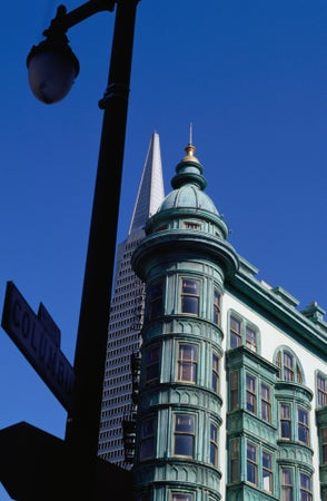 Architectural contrast: the Transamerica Pyramid behind the Sentinel Building (Columbus Tower), San Francisco, USA