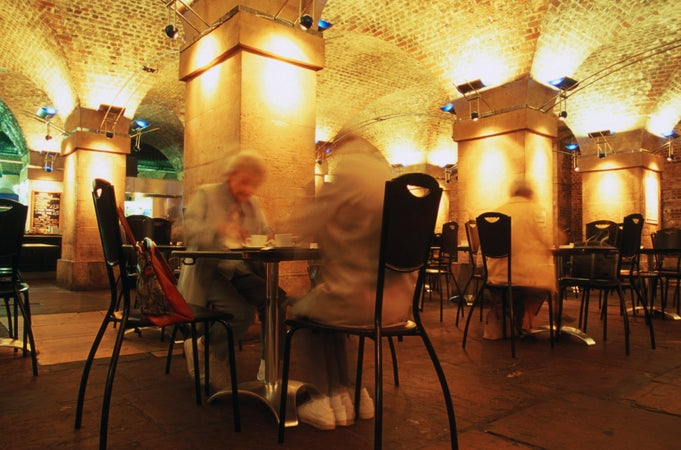 Guests at Cafe in the Crypt, St Martins in the Field Church, London, England