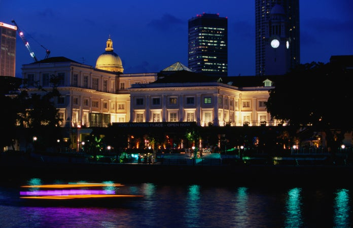 Singapore River with Indochine at Empress Place at night, Singapore (city), Singapore (country)