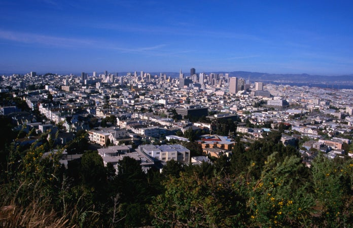The city of San Francisco, seen from Corona Heights Park, The Castro, San Francisco, USA